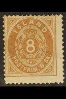 1873 8sk Brown, Fac 3, Fresh Mint, Part Og, Centered High But Fresh. For More Images, Please Visit Http://www.sandafayr - Iceland