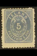 1876 5aur Grey Blue, Perf 12¾x12¾, Fac 23, Fresh Mint No Gum. For More Images, Please Visit Http://www.sandafayre.com/it - Iceland