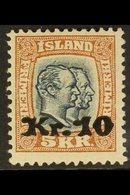 1921 10kr On 5kr Two Kings, Fac. 107, Very Fine Mint. For More Images, Please Visit Http://www.sandafayre.com/itemdetail - Iceland