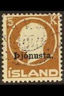 """OFFICIALS 1922 5kr Brown, Frederik VIII Head, Ovptd """"Pjonusta"""", Fac TJ54, Very Fine Used. For More Images, Please Visit  - Iceland"""