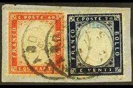 """1862 20c Indigo & 40c Deep Red (SG 2a & 3b, Sassone 2 & 3), Fine Used On Small Piece Tied By """"Milano"""" Cds's, The 20c Wit - Italy"""