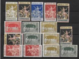 BELGIQUE - Lot De 16 Vignettes ** Expo De Bruxelles 1897 - Erinnophilie