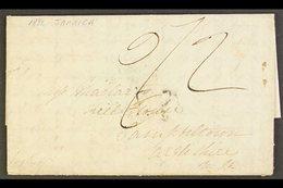 "1822 FLEURON ON ENTIRE TO SCOTLAND ""PR PACKET ST ANN"" (Feb) Lengthy Letter Showing Clear But Feint Cancel. Glasgow Arriv - Jamaica (...-1961)"