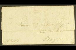 "1834 JAMES BLAIR PLANTATION LETTER,  MOUNT ZION, ST ELIZABETH TO SCOTLAND, ADDITIONAL ""½"" MARK & KINGSTON CDS (June) Len - Jamaica (...-1961)"