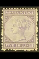 1875 5s Lilac, SG 15, Fine Mint. For More Images, Please Visit Http://www.sandafayre.com/itemdetails.aspx?s=636036 - Jamaica (...-1961)