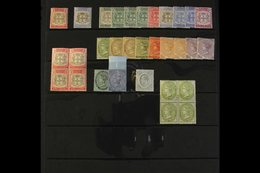"""1903-11 FINE MINT RANGE Incl. 1903-04 1d """"SER.ET"""", 1905-11 Arms Incl. 1d Grey And Carmine Block Of Four, QV All Four 6d  - Jamaica (...-1961)"""