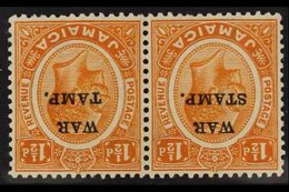 "1916 1½d Orange ""War Stamp"" Overprint WATERMARK INVERTED Variety, SG 71w, Very Fine Mint Horizontal PAIR With One Stamp  - Jamaica (...-1961)"