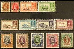 "1939 KGVI Opt'd ""Kuwait"" Definitive Set, SG 36/51w, Fine Mint, 15r With Inverted Watermark & Light Gum Bend (13 Stamps)  - Kuwait"