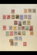 1867-1945 OLD TIME COLLECTION ON ALBUM PAGES Includes 1867 Crown Opts On India 2c On 1a, And 24c On 8a (x2) Used, 1867-7 - Straits Settlements