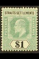 1904 $1 Dull Green And Black, Wmk MCA, SG 136, Very Fine Mint. For More Images, Please Visit Http://www.sandafayre.com/i - Straits Settlements
