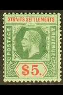 1912-23 $5 Green And Red On Blue Green, Olive Back, SG 212b, Fine Mint. For More Images, Please Visit Http://www.sandafa - Straits Settlements
