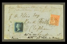"""1863 COVER TO LONDON Bearing Great Britain 2d Blue, Plate 9, Plus 1862-64 4d (this With Fault), These Tied By """"MALTA / A - Malta (...-1964)"""