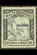 1899-1901 10s Blue-black, SG 35, Very Fine Mint. For More Images, Please Visit Http://www.sandafayre.com/itemdetails.asp - Malta (...-1964)