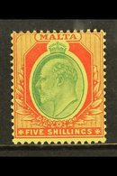 1911 5s Green & Red On Yellow, SG 63, Never Hinged Mint. Centered High. Fresh! For More Images, Please Visit Http://www. - Malta (...-1964)
