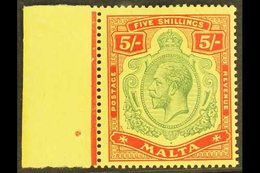 1914 - 21 5s Green And Red On Yellow, Wmk MCA, Very Fine Marginal NHM. For More Images, Please Visit Http://www.sandafay - Malta (...-1964)