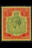 1914-21 5s. Green And Red On Yellow Key Plate, SG 88, Very Fine Mint. For More Images, Please Visit Http://www.sandafayr - Malta (...-1964)