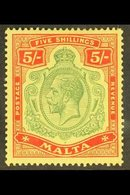 1914-21 KGV 5s Green And Red/yellow, SG 88, Very Fie Mint. For More Images, Please Visit Http://www.sandafayre.com/itemd - Malta (...-1964)