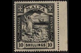 1921-22 10s, Black Shipwreck Of St Paul, SG 104, Very Fine Mint With Sheet Margin At Right. For More Images, Please Visi - Malta (...-1964)