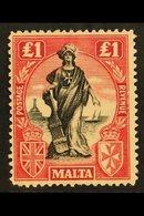 1922-26 £1 Black And Carmine-red, Watermark Sideways, SG 139, Fine Mint. For More Images, Please Visit Http://www.sandaf - Malta (...-1964)