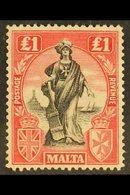 1922-26 £1 Black & Carmine-red Wmk Sideways, SG 139, Fine Mint, Fresh Colour. For More Images, Please Visit Http://www.s - Malta (...-1964)