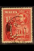 """1938 1½d Scarlet, Variety """"Broken Cross"""", SG 220a, Very Fine Used. RPS Cert. For More Images, Please Visit Http://www.sa - Malta (...-1964)"""