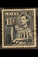 "1938 1½d Slate Black, Variety ""Broken Cross"", SG 220ba, Very Fine Used. RPS Cert. For More Images, Please Visit Http://w - Malta (...-1964)"