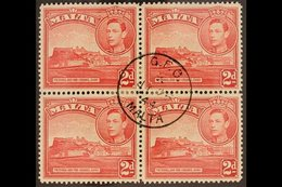 """1938 2d Scarlet """"Citadel"""", Variety """"extra Windows"""" , SG 212ba, In Block Of 4 With Normals, Very Fine Used. For More Imag - Malta (...-1964)"""