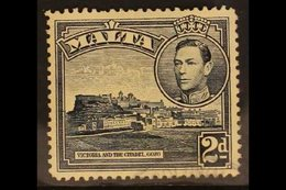 """1938 2d Slate Black, Variety """"Extra Windows"""", SG 221a, Very Fine Used. Unpriced SG. RPS Cert. For More Images, Please Vi - Malta (...-1964)"""