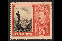 """1938 2s 6d Black And Scarlet, Neptune, Variety """"Damaged Value Tablet"""", SG 229a, Very Fine Used. RPS Cert. For More Image - Malta (...-1964)"""