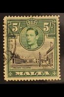 """1938 5s Black And Green, Palace Square, Variety """"Semaphore Flaw"""", SG 230a, Very Fine Used. BPA Cert.   For More Images, - Malta (...-1964)"""