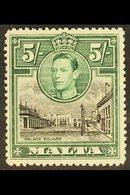 "1938-53 5s Black & Green ""Semaphore Flaw"" Variety, SG 230a, Mint For More Images, Please Visit Http://www.sandafayre.com - Malta (...-1964)"