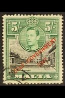 1948-53 5s Black & Green Overprint With 'NT' JOINED Variety, SG 247a, Used. For More Images, Please Visit Http://www.san - Malta (...-1964)