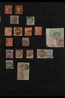 """GREAT BRITAIN USED IN MALTA 1855-1884 Collection Including A Few Stamps Tied On Piece. With 1d Red """"stars"""" (2, One Cance - Malta (...-1964)"""