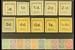 POSTAGE DUE 1925 COMPLETE KGV Mint Collection On A Stock Card Inc Typeset Set & Script Wmk Sideways Set, SG D1/20, Fine  - Malta (...-1964)