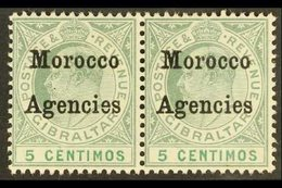 """1905 5c Grey Green And Green, Horizontal Pair One Showing The Variety """"cd Sideways"""", SG 24a, Fine Mint. For More Images, - Morocco (1891-1956)"""
