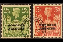 BRITISH CURRENCY 1949 2s6d Yellow-green & 5s Red, SG 92/3, Very Fine Used (2 Stamps). For More Images, Please Visit Http - Morocco (1891-1956)