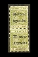 """GIBRALTAR ISSUES OVERPRINTED 1898 20c Olive Green And Brown, Variety """"inverted V For A"""", SG 3 + 3a, In Vertical Pair Wit - Morocco (1891-1956)"""