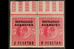 SPANISH CURRENCY 1907-12 6p On 5s Bright Carmine, Top Marginal Pair, SG 122, Very Fine Mint. For More Images, Please Vis - Morocco (1891-1956)