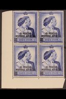 SPANISH CURRENCY 1948 45p On £1 Royal Silver Wedding Cylinder Block Of Four, SG 177, Fine Mint, Hinged On Top Stamps. Fo - Morocco (1891-1956)