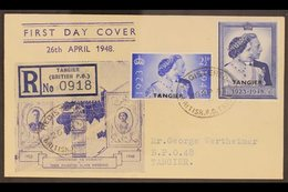 TANGIER 1948 Royal Silver Wedding Complete Set, SG 255/256, On Illustrated & Registered First Day Cover, Tied By Fine Ov - Morocco (1891-1956)
