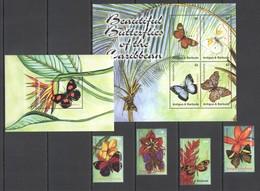 E1139 ANTIGUA & BARBUDA FLORA & FAUNA BEAUTIFUL BUTTERFLIES !!! 1SET+1KB+1BL MNH - Papillons