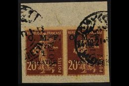 1921 1p On 20c Air Mail Surcharge, SG 86, Pair Fine Used On Piece. For More Images, Please Visit Http://www.sandafayre.c - Syria