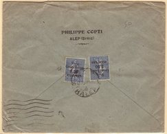 """1923 Commercial Cover To France, Franked Two 1923 2.50pi On 50c """"Syrie Grand Liban"""" Overprints, SG 105, HALEP C.d.s. Can - Syria"""