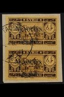 """ALAOUITES 1944 50c Brown On Yellow, Variety """"overprint Double"""", SG D44 Var, Vertical Pair Superb Used On Piece. For Mor - Syria"""