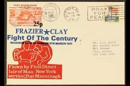 POST MANNINAGH 1971 Isle Of Man To New York First Flight Cover Bearing Post Manninagh 25p Local Strike Post And USA 6c S - Great Britain