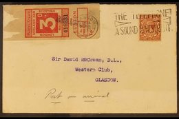 """1932 (24 May) Cover Bearing KGV 1½d Red-brown Plus """"LONDON, MIDLAND AND SCOTTISH RAILWAY"""" 3d Red Parcel Stamp, Tied By G - Great Britain"""