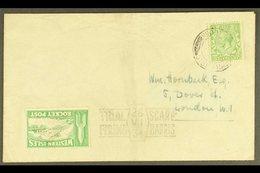 "1934 ROCKET POST CRASH. 1934 (28 July) Env With ½d Stamp Tied ""Harris / Isle Of Harris"" Cds With Green ""Western Isles /  - 1902-1951 (Kings)"