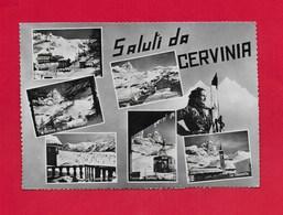 CARTOLINA VG ITALIA - Saluti Da CERVINIA (AO) - Vedutine Multivue - Pin Up - 10 X 15 - ANN. 1954 - Saluti Da.../ Gruss Aus...