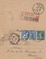 140 SEMEUSE ENTIER + 214 - RECOMMANDE Du 26.6.1924 De PARIS - Postal Stamped Stationery