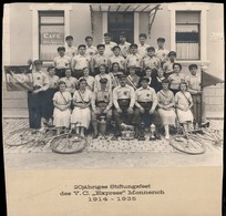 "Cyclisme, Radfahren,Cycling: 20e Anniversaire V.C. ""Express"" Monnerich 1914-1935, Photo Sur Carton 29x29 Cm. - Cycling"